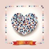 Walentynki tło z oszałamiająco sercem Obraz Stock