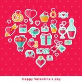 Walentynki tło z płaskimi elementami Zdjęcia Stock
