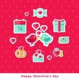 Walentynki tło z płaskimi elementami Obrazy Royalty Free
