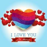 Walentynki tło z sercami i wiadomością, w błękicie Obraz Royalty Free