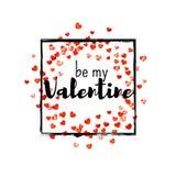 Walentynki tło z złocistymi błyskotliwość sercami Luty 14th dzień Wektorowi confetti dla valentine tła szablonu Obrazy Stock