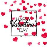Walentynki tło z złocistymi błyskotliwość sercami Luty 14th dzień Wektorowi confetti dla valentine tła szablonu Obrazy Royalty Free