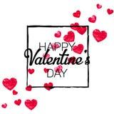 Walentynki tło z złocistymi błyskotliwość sercami Luty 14th dzień Wektorowi confetti dla valentine tła szablonu Obraz Stock
