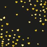 Walentynki tło z złocistymi błyskotliwość sercami Luty 14th dzień Wektorowi confetti dla valentine tła szablonu Fotografia Stock
