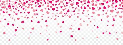 Walentynki tło z sercami spada na przejrzystym Fotografia Royalty Free