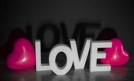 Walentynki teraźniejsza - miłość z różowym sercem szybko się zwiększać czarnego tło Obrazy Royalty Free