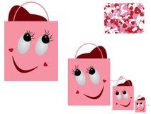 Walentynki torba i bezszwowy wzór. Zdjęcia Royalty Free