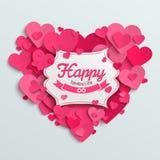 Walentynki wektorowa ilustracyjna pocztówka, romantyczny tekst na menchiach tapetuje serca Zdjęcie Stock