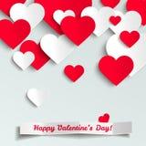 Walentynki wektorowi ilustraci, czerwieni i białego papieru serca, kartka z pozdrowieniami Zdjęcie Royalty Free
