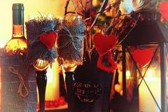 Walentynki wina butelki czarodziejka Zdjęcia Stock