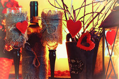 Walentynki wina butelki czarodziejka Obrazy Royalty Free
