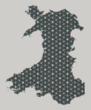 Wales översikt med stjärnor och prydnader Royaltyfri Bild