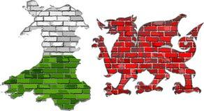Wales översikt på en tegelstenvägg Fotografering för Bildbyråer
