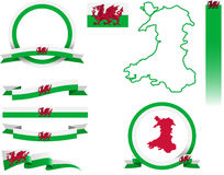 Wales Banner Set Royalty Free Stock Photo