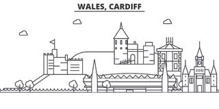 Wales, Cardiff architecture line skyline illustration. Linear vector cityscape with famous landmarks, city sights royalty free illustration