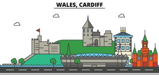 Wales, Cardiff. City skyline architecture . Editable. Wales, Cardiff. City skyline architecture, buildings, streets, silhouette, landscape, panorama landmarks Stock Images