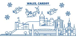 Wales, Cardiff winter city skyline. Merry Christmas, Happy  Royalty Free Stock Photography