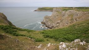 Wales Coast Mewslade Bay The Gower peninsula near to Rhossili beach and Fall Bay stock video footage
