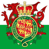 Wales coat of arms and flag Stock Image