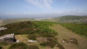 Wales countryside top of Rhossili Down mountain The Gower peninsula UK stock video footage