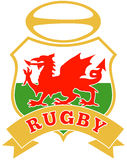 Wales dragon rugby ball welsh Royalty Free Stock Photos