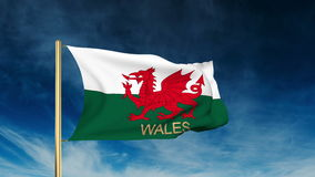 Wales flag slider style with title. Waving in the stock video