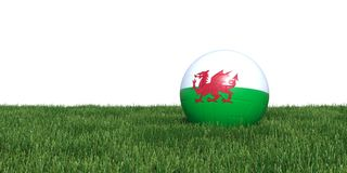 Wales soccer ball lying in grass world cup 2018. Wales flag soccer ball lying in grass world cup 2018, isolated on white background. 3D Rendering, Illustration Royalty Free Stock Photo