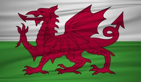 Wales flag vector. Vector flag of Wales blowig in the wind. stock illustration