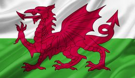 Wales flag waving with the wind, 3D illustration. 3D rendering Royalty Free Stock Photography