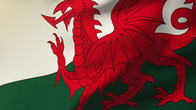 Wales flag waving in the wind. Looping sun rises. Wales flag waving in the wind. Loops sun rises style stock footage