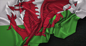 Wales Flag Wrinkled On Dark Background 3D Render Royalty Free Stock Photography