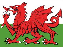 Wales flaggaillustration Arkivbilder