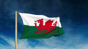 Wales-Flaggenschieberart Wellenartig bewegen in den Gewinn mit stock footage