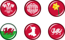 Wales Flat Icon Set Stock Images