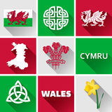Wales Flat Icon Set Royalty Free Stock Photography