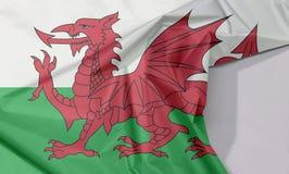 Wales-Gewebeflaggenkrepp und -falte mit Leerraum lizenzfreie stockfotografie