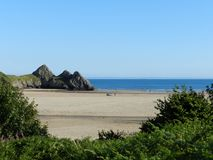 Wales Gower Beach. Three Cliffs 3 stock images