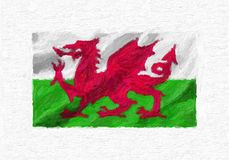 Wales hand painted waving national flag, oil paint isolated on w. Hite canvas, 3D illustration Stock Image
