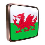 Wales icon flag. 3d rendering of a Wales flag icon. Isolated on white Royalty Free Stock Images