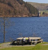 Wales - Lake Vyrnwy - Powys. Picnic area at Lake Vyrnwy Nature Reserve and Estate is an area of land in Montgomeryshire, Powys in Wales, surrounding the Stock Photo
