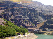 Wales landscape. The highest mountains in Wales with historic mining building is a favorite walking area - Llanberis Stock Photography