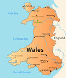 Wales map. Illustration of the map of Wales with its main cities, rivers, mountaints and parks Stock Image