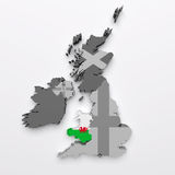 Wales map and flag Stock Image