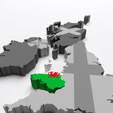 Wales map and flag Royalty Free Stock Photos