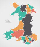 Wales Map with states and modern round shapes Royalty Free Stock Photos
