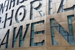 Wales Millennium Centre 5. Letters in the Fascade of the new Welsh arts centre in Cardiff Bay, Wales , UK Royalty Free Stock Photography