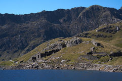 Wales mountains. The highest mountains in Wales with historic mining building is a favorite walking area stock image