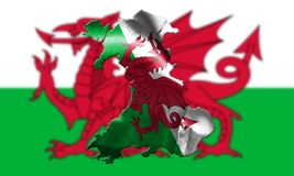 Wales National Flag With Country Name On It 3D illustration Royalty Free Stock Photos