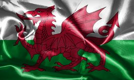 Wales National Flag With Country Name On It 3D illustration Royalty Free Stock Photo