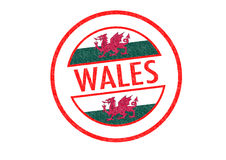WALES. Passport-style WALES rubber stamp over a white background Stock Photo